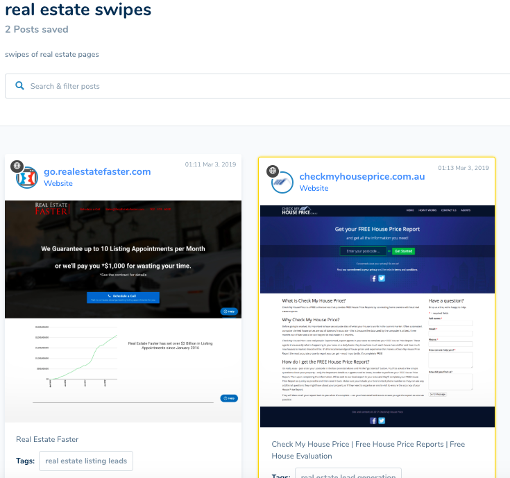 review your swipes in your fill your funnel dashboard
